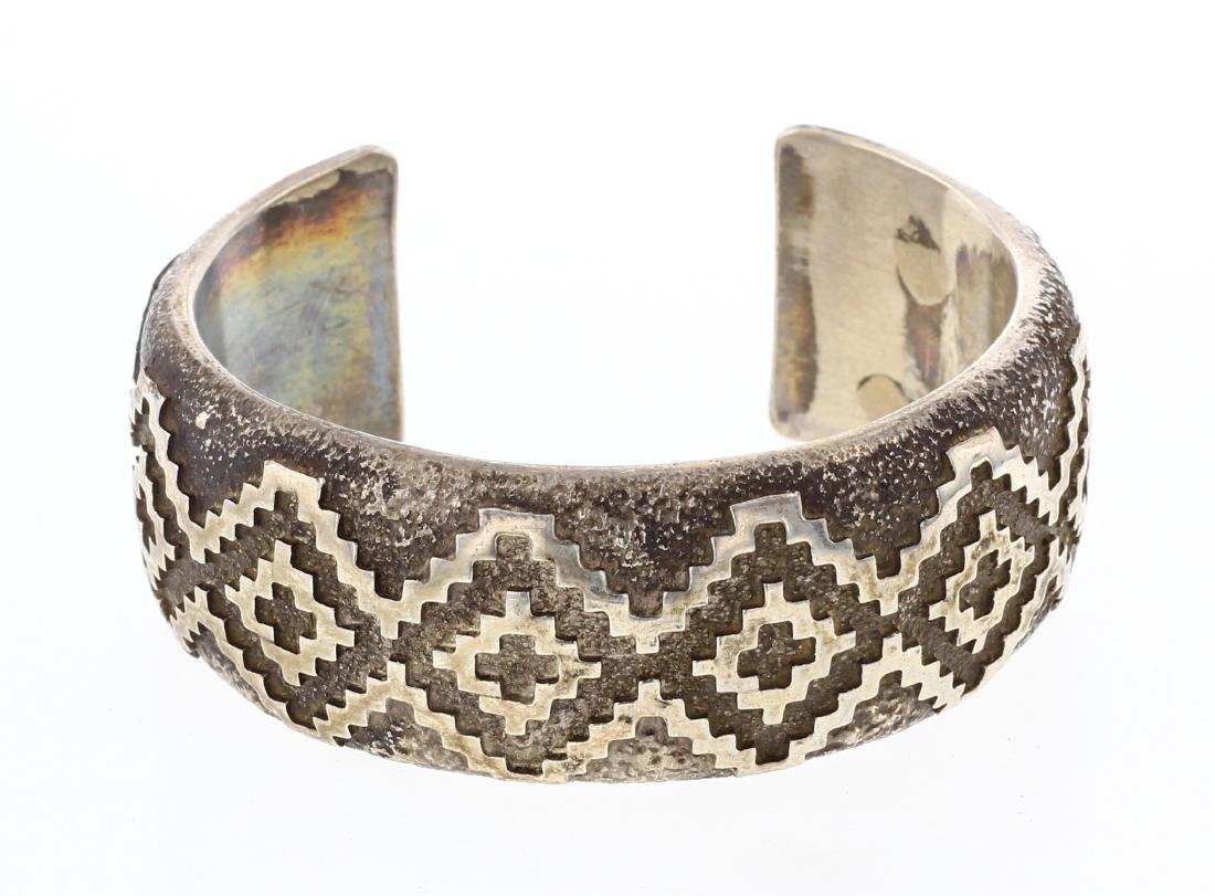 JR Vintage Geometric Overlay Wide Cuff Bracelet