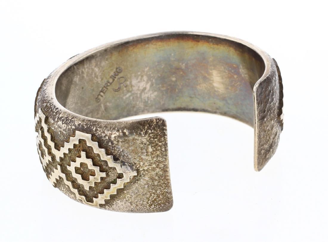 JR Vintage Geometric Overlay Wide Cuff Bracelet - 2