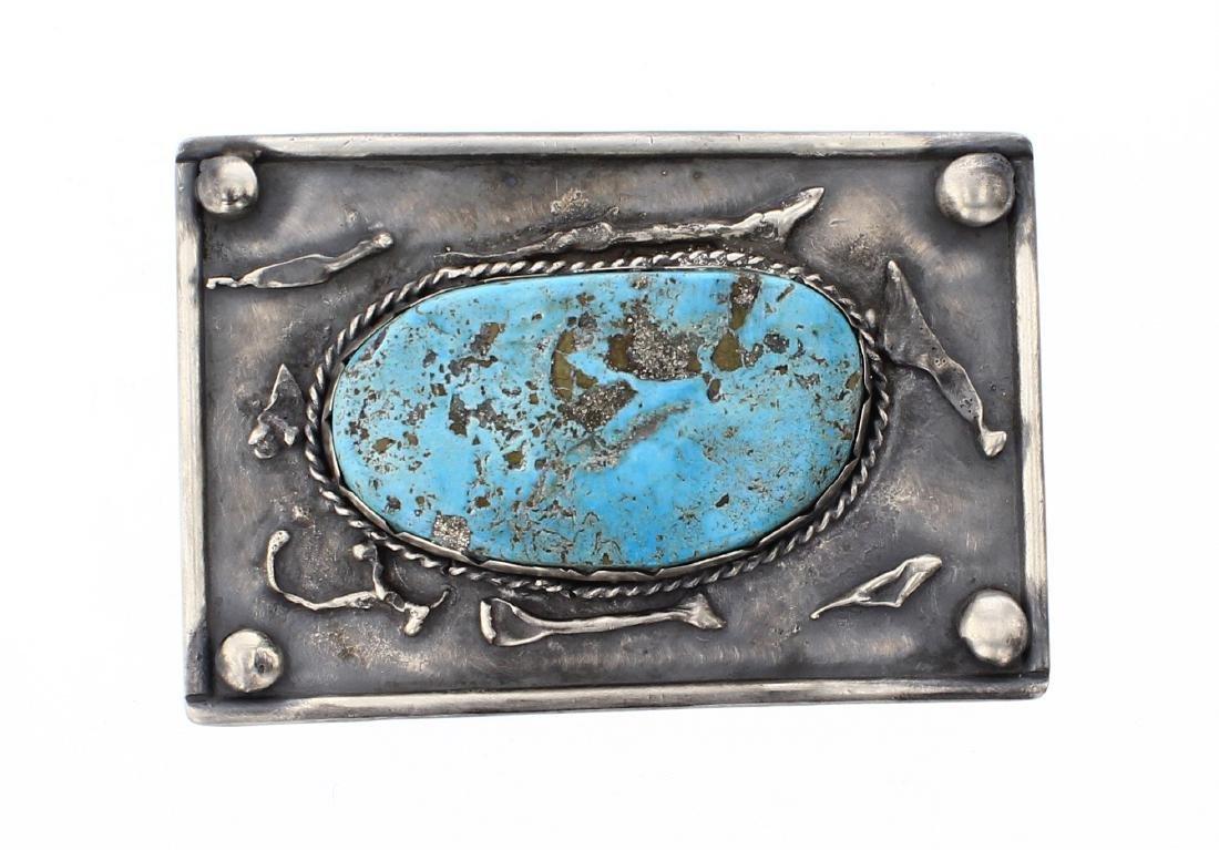 Vintage Large Turquoise Stone Belt Buckle