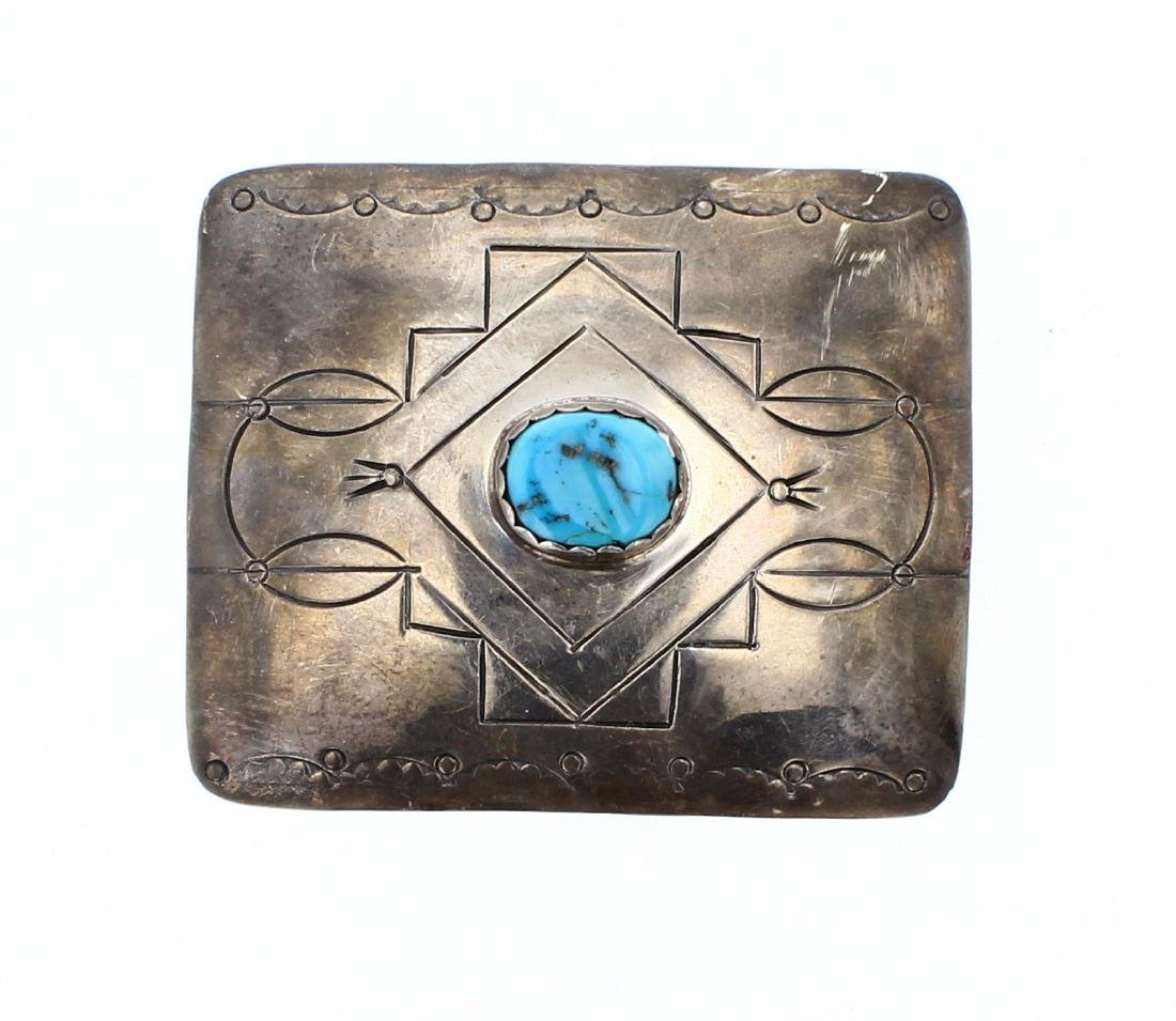 Old Pawn Kingman Nugget Turquoise Belt Buckle