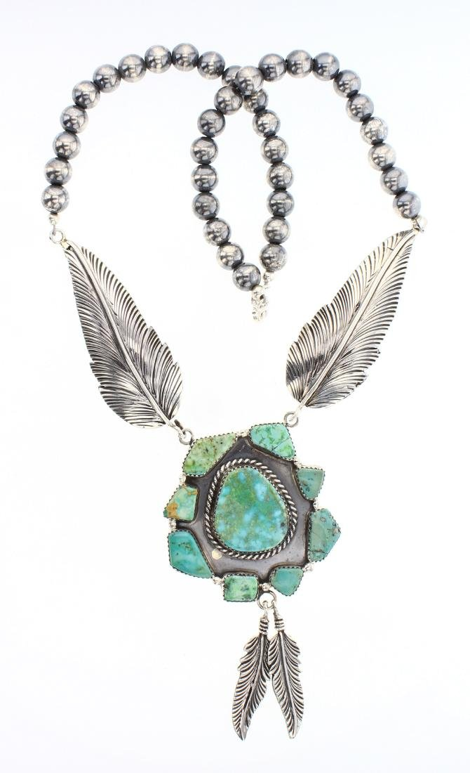 Contemporary Turquoise Leaves & Beads Necklace