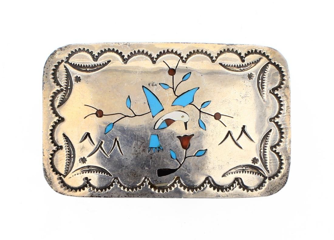 BB Old Pawn Zuni Inlay Bird & Branch Belt Buckle