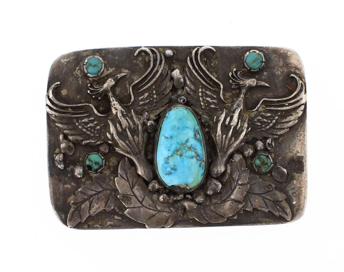 Old Pawn Turquoise  Bird Belt Buckle