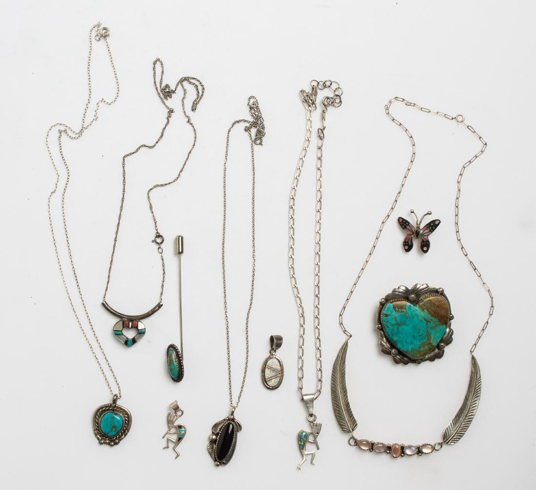Vintage & Old Pawn Necklace & Pendant Lot of 10  Navajo