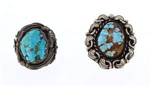 Old Pawn Turquoise Large Stone Ring Lot of Two