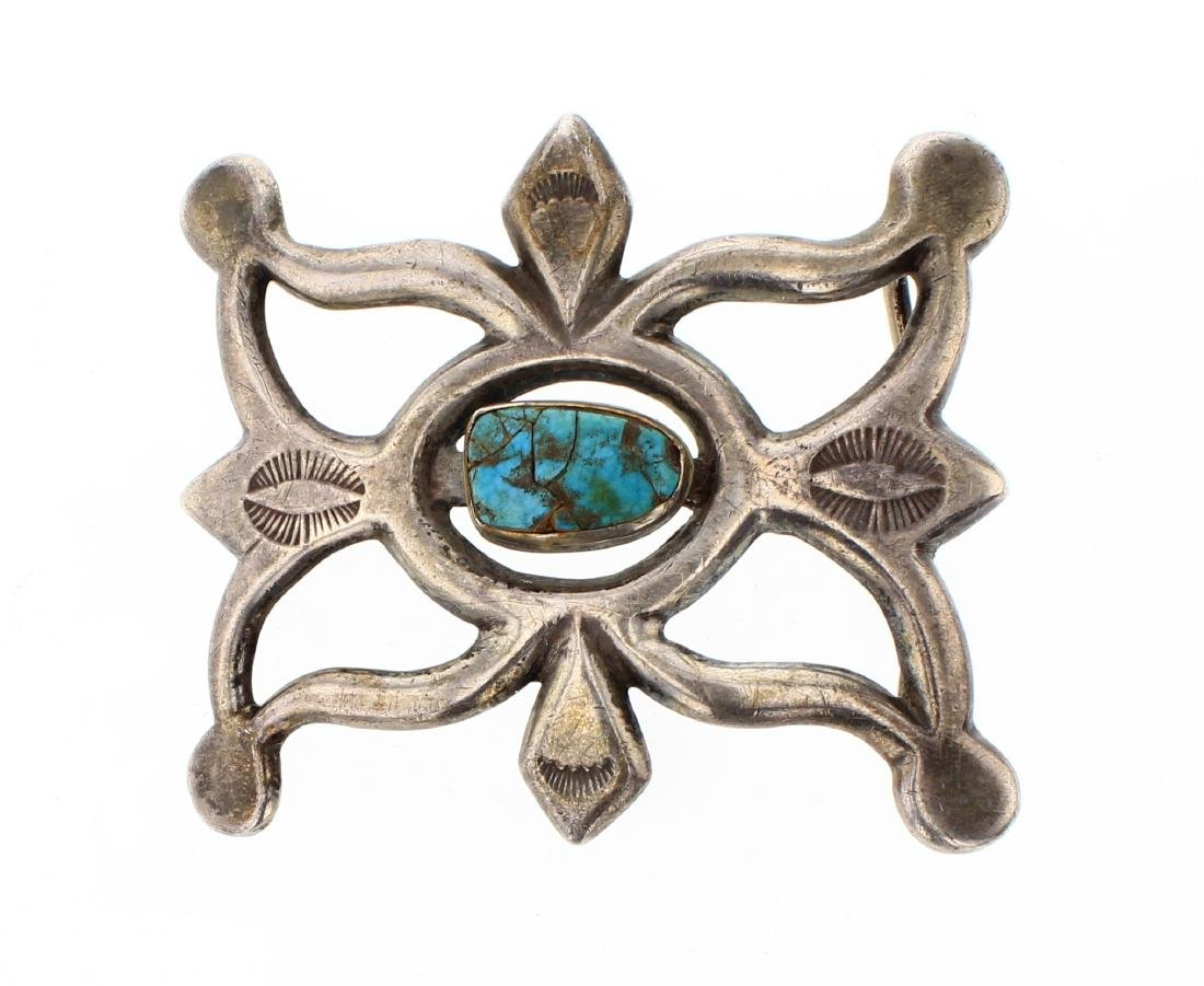 Old Pawn Turquoise Sand Cast Belt Buckle