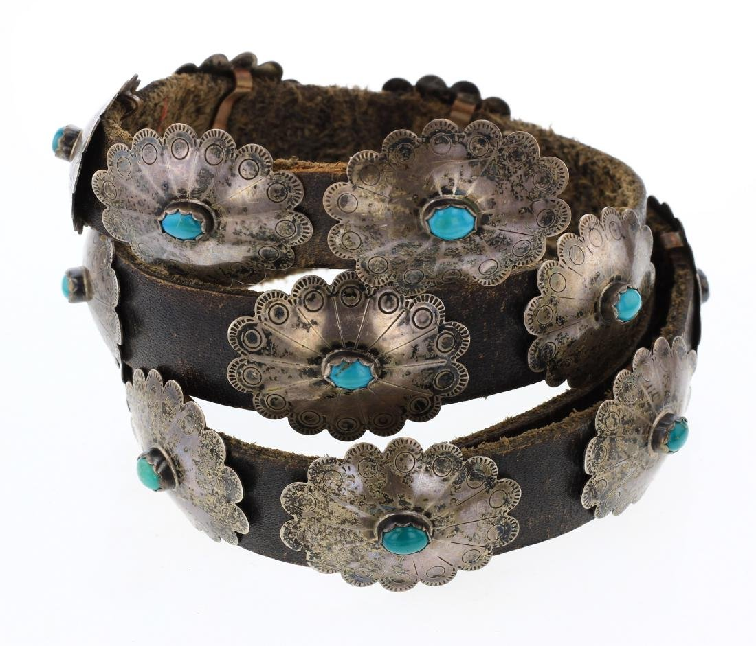 Old Pawn Antique Turquoise Stamp Concho Belt