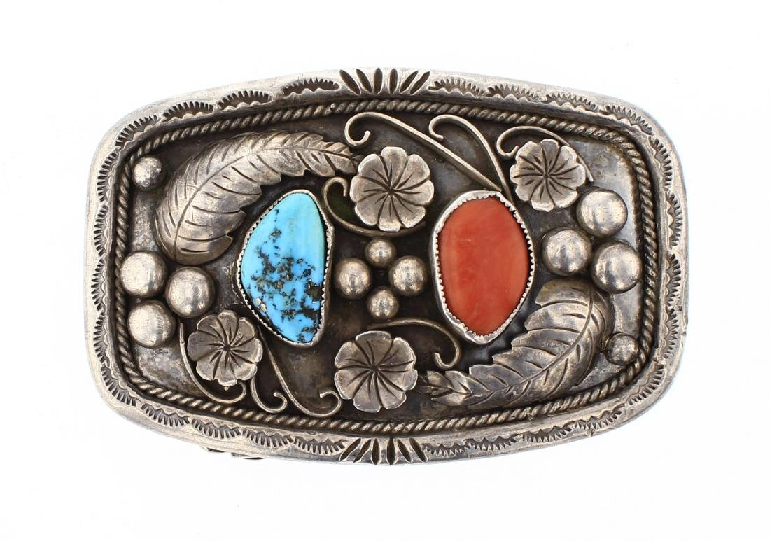 Morty Johnson Old Pawn Turquoise & Coral Flower & leaf