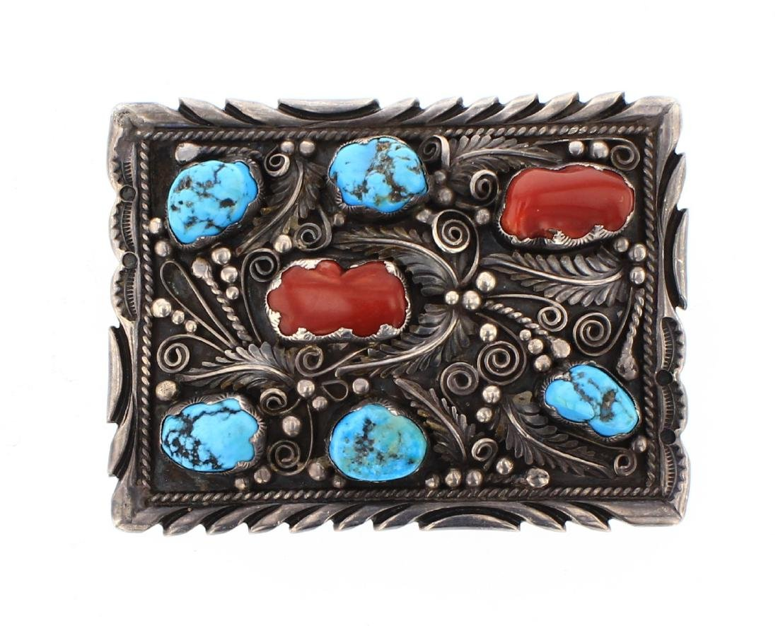 Old Pawn Turquoise & Coral Leaf Belt Buckle