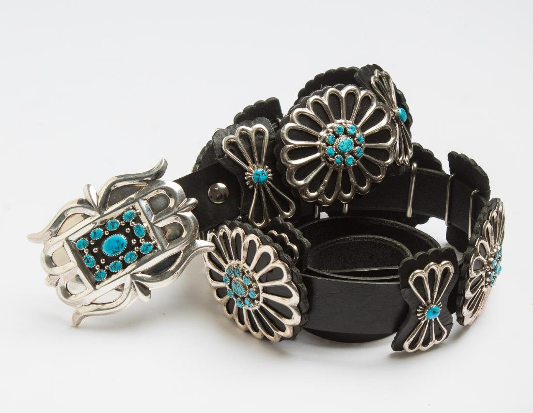 LB Contemporary Turquoise Leather Backed Concho Belt