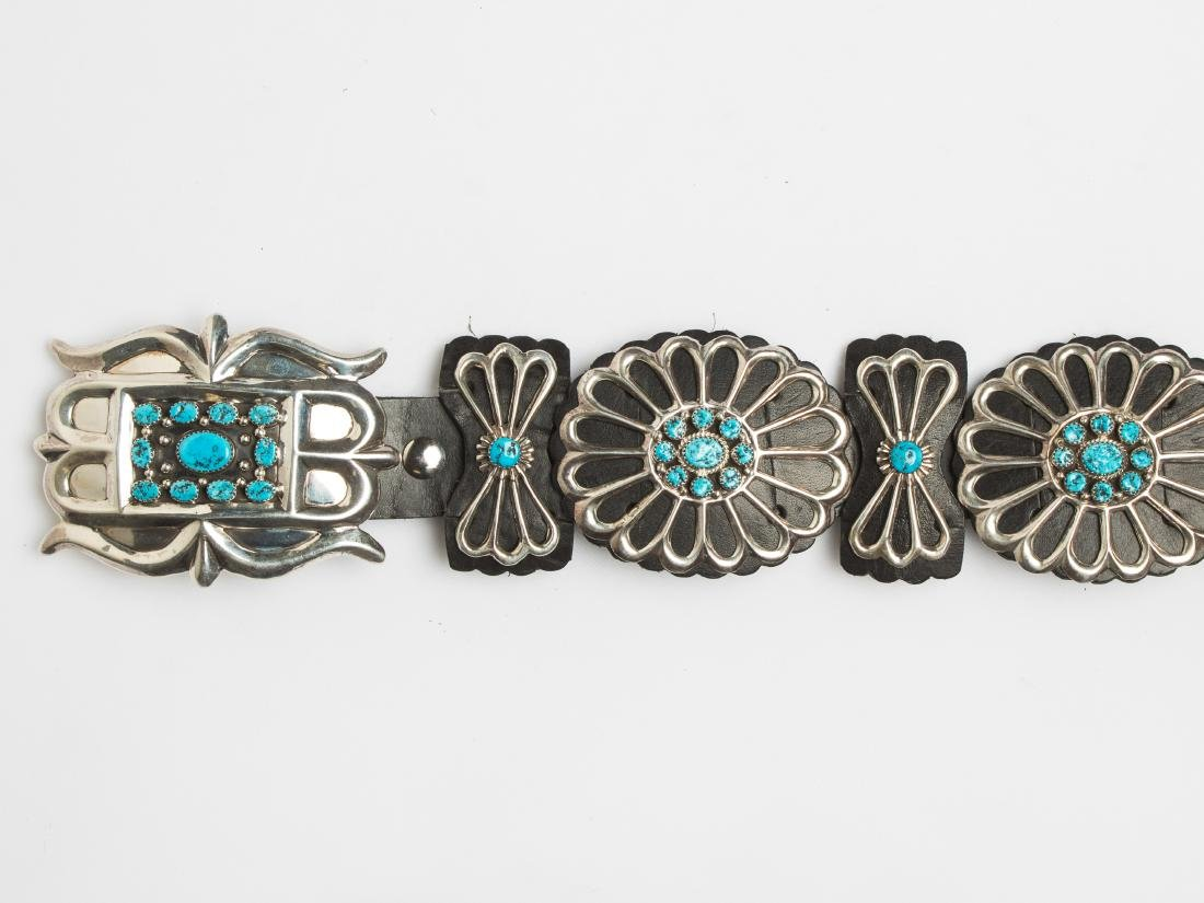LB Contemporary Turquoise Leather Backed Concho Belt - 3