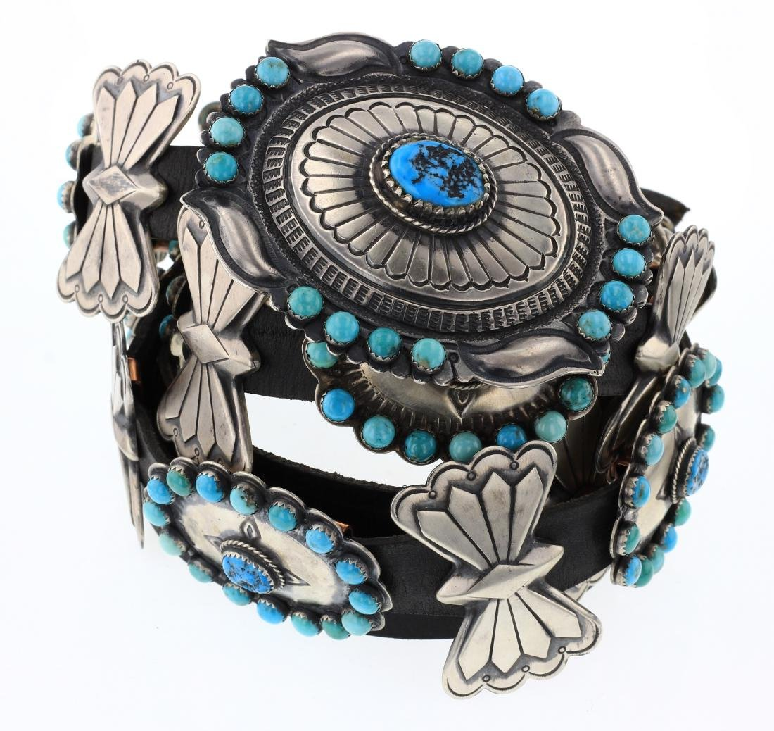 Kingman  Cluster Turquoise Stamp Large Concho Belt