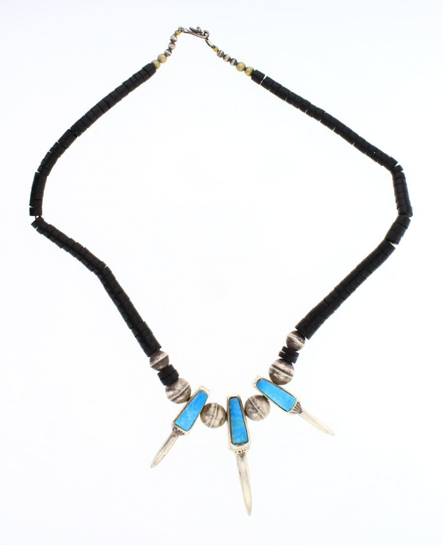 Vintage Jet Stone & Turquoise Inlay Claw Design