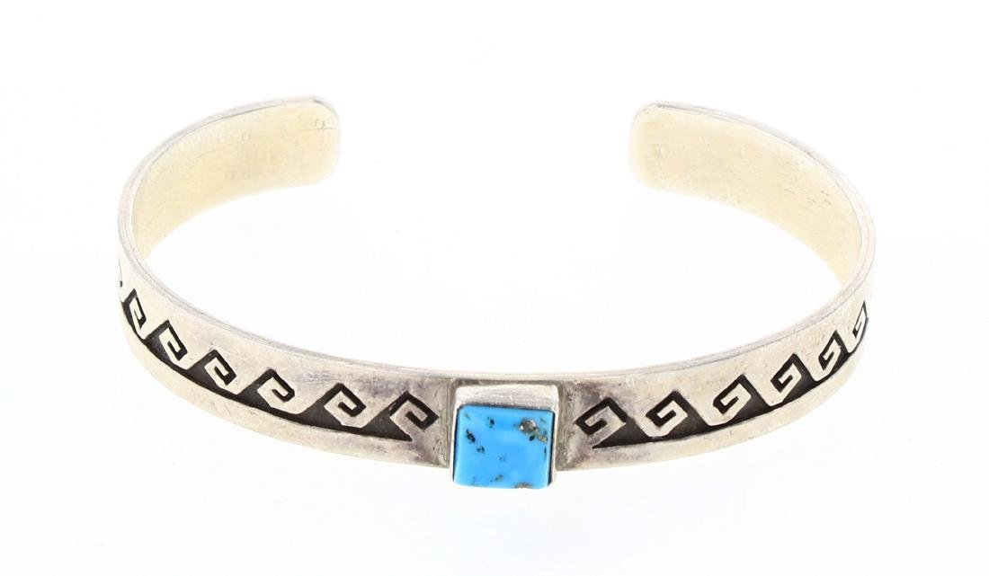 DJ Vintage Turquoise Geometric Design Cuff Bracelet