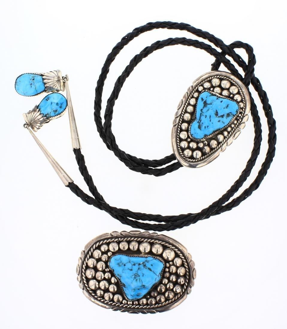 Robert & Bernice Leekya Kingman Turquoise Belt Buckle &
