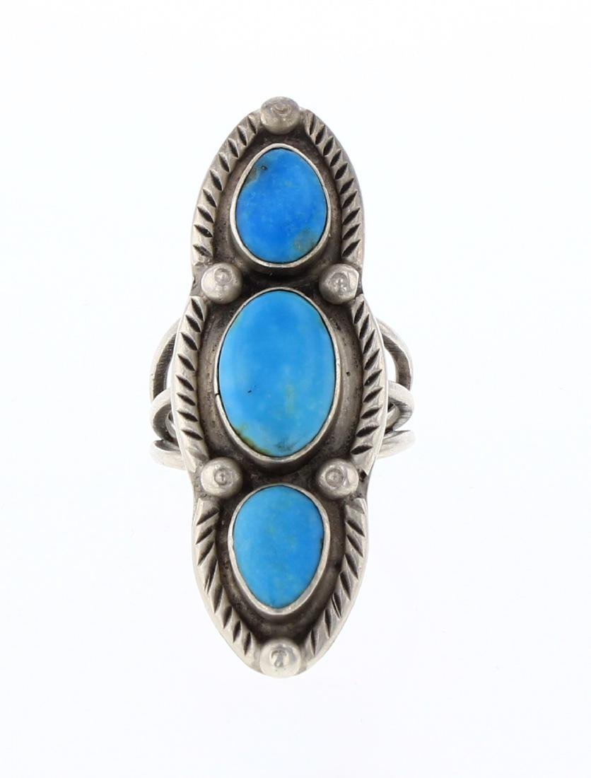 Old Pawn  Turquoise Elongated Row Ring