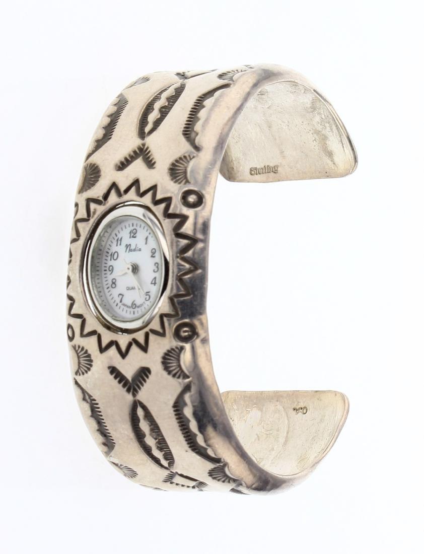 Vintage Heavy Stamp Watch Bracelet