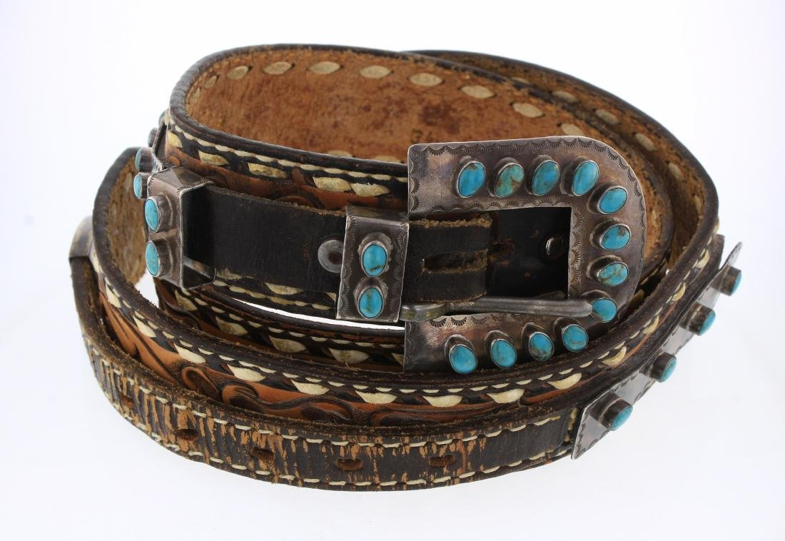 Sarah Chee Old Pawn Turquoise Ranger Set With Concho