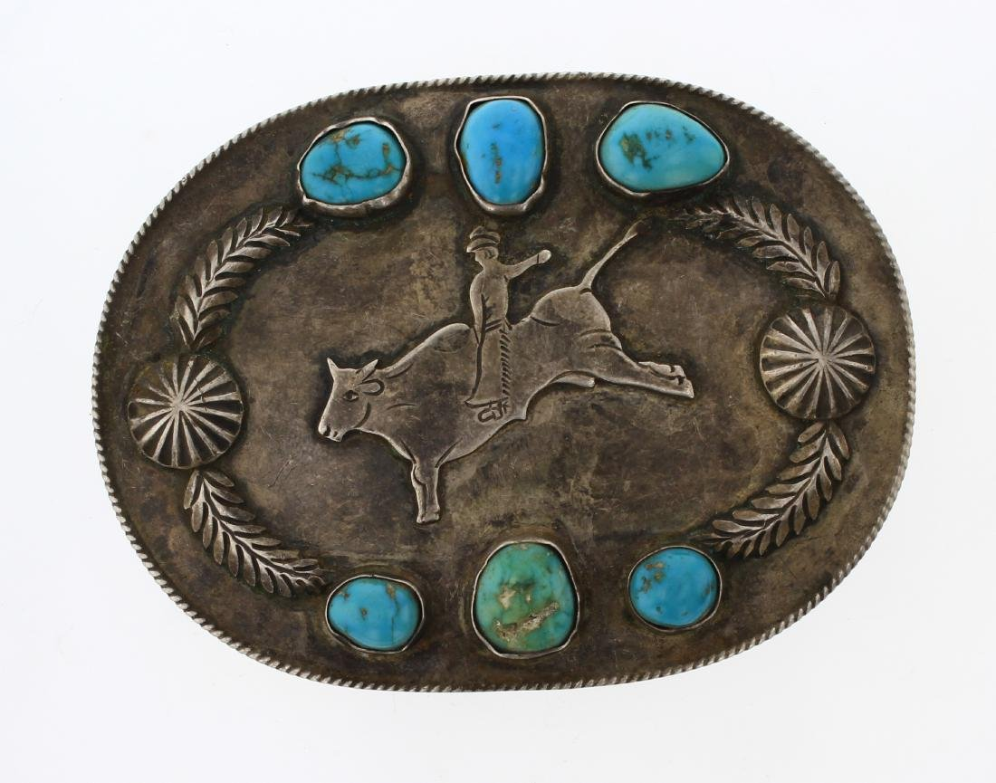 Old Pawn Turquoise Rodeo Belt Buckle
