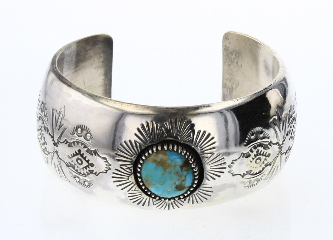 Vintage Turquoise Shadow Box Heavy Stamp Cuff Bracelet