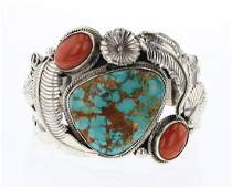 Vintage Turquoise & Coral Garden Motif Cuff Bracelet