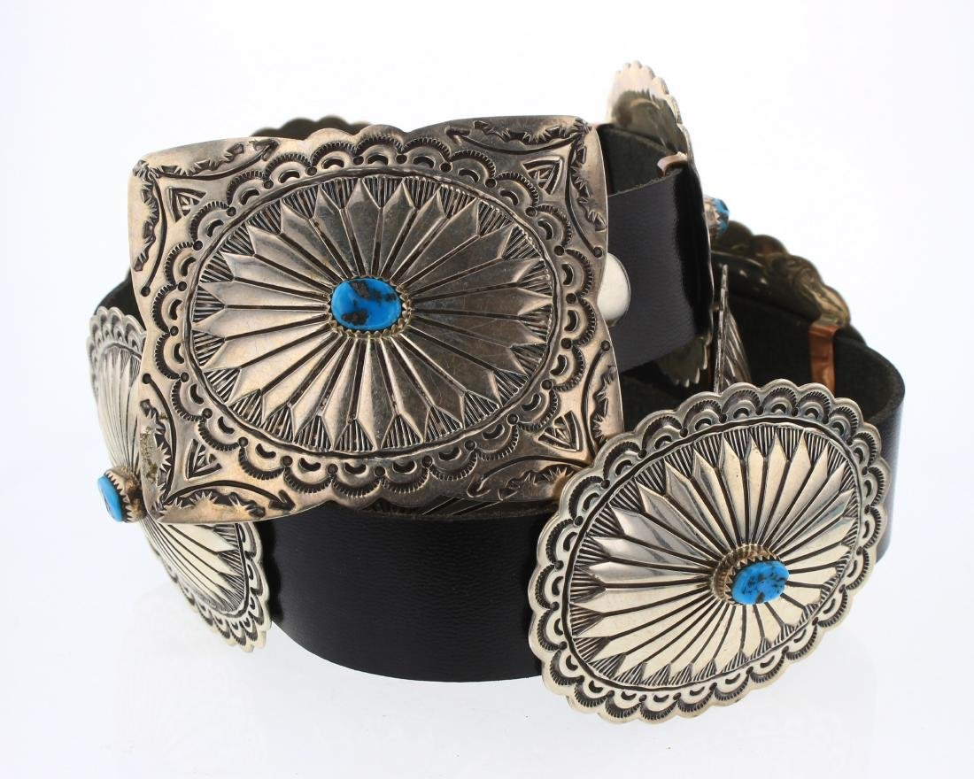 Tim Guerro Vintage Turquoise Heavy Stamp Concho Belt