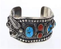 A. & L. Wallace Zuni Vintage Turquoise & Coral Cuff