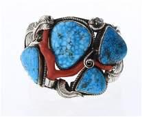 L Kee Vintage Turquoise & Coral Branch Bracelet