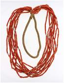 Old Pawn Coral & Silver Barrel Beads Necklace