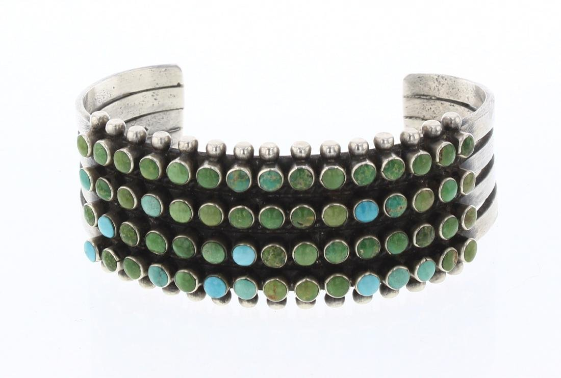 Ray Betsoi Vintage Turquoise Four Row Calibrated  Cuff