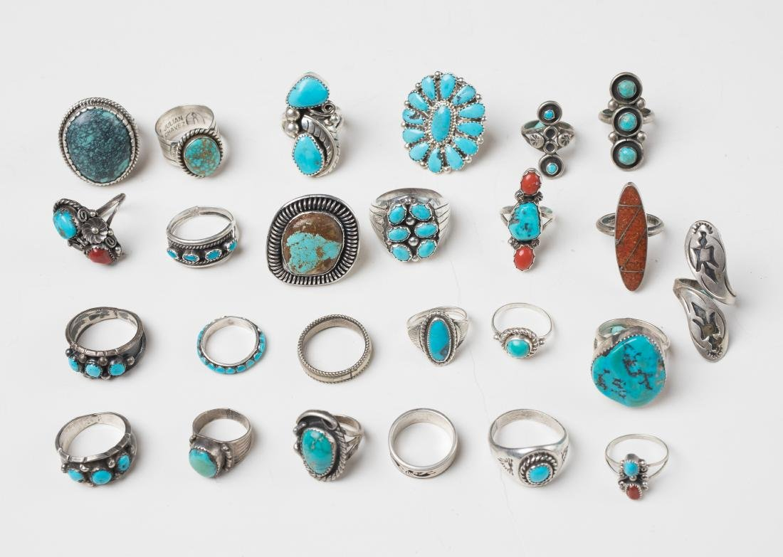 Old Pawn & Vintage Turquoise & Coral Mixed Rings Lot