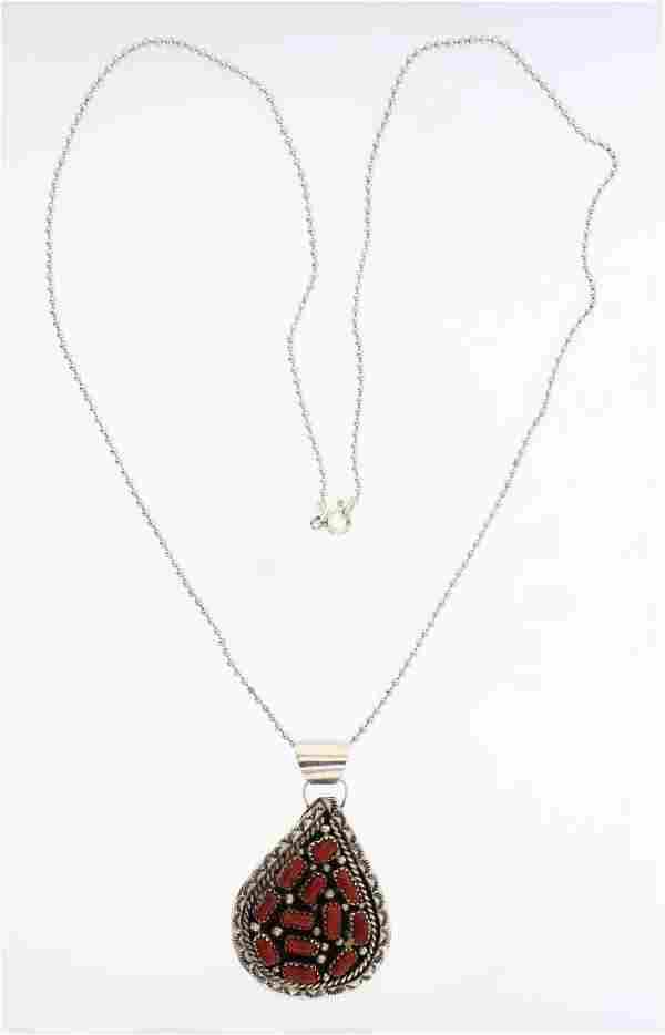 Vintage Coral Pendant & Micro Bead Necklace