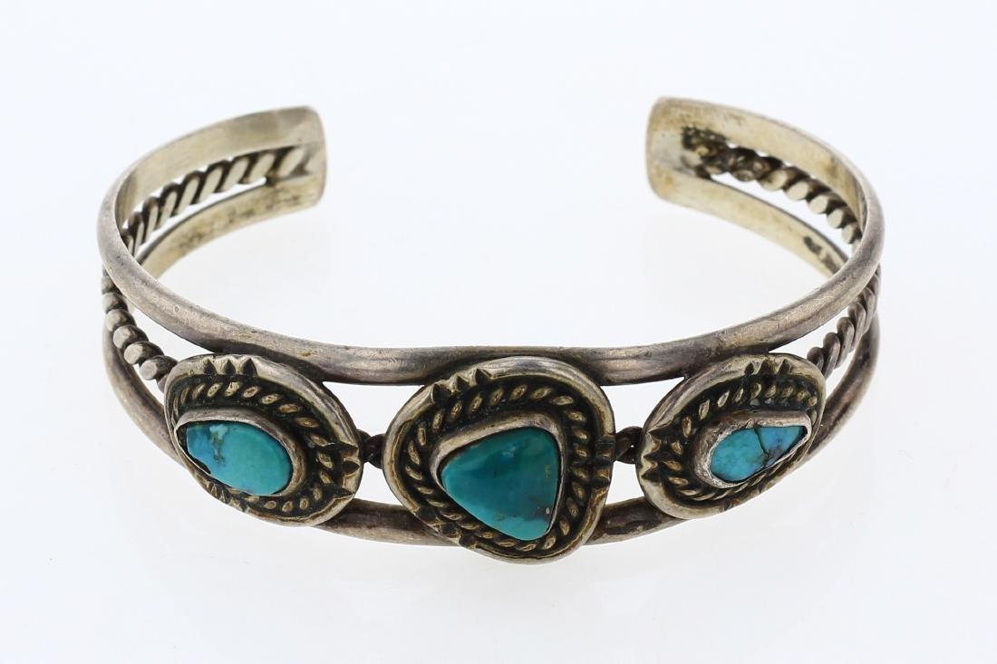 Old Pawn Turquoise Twist Wire Cuff Bracelet