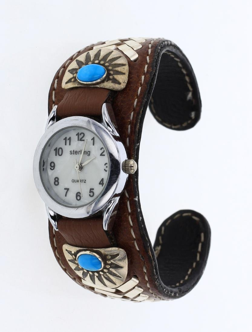 Vintage Turquoise & Leather Watch Cuff Bracelet