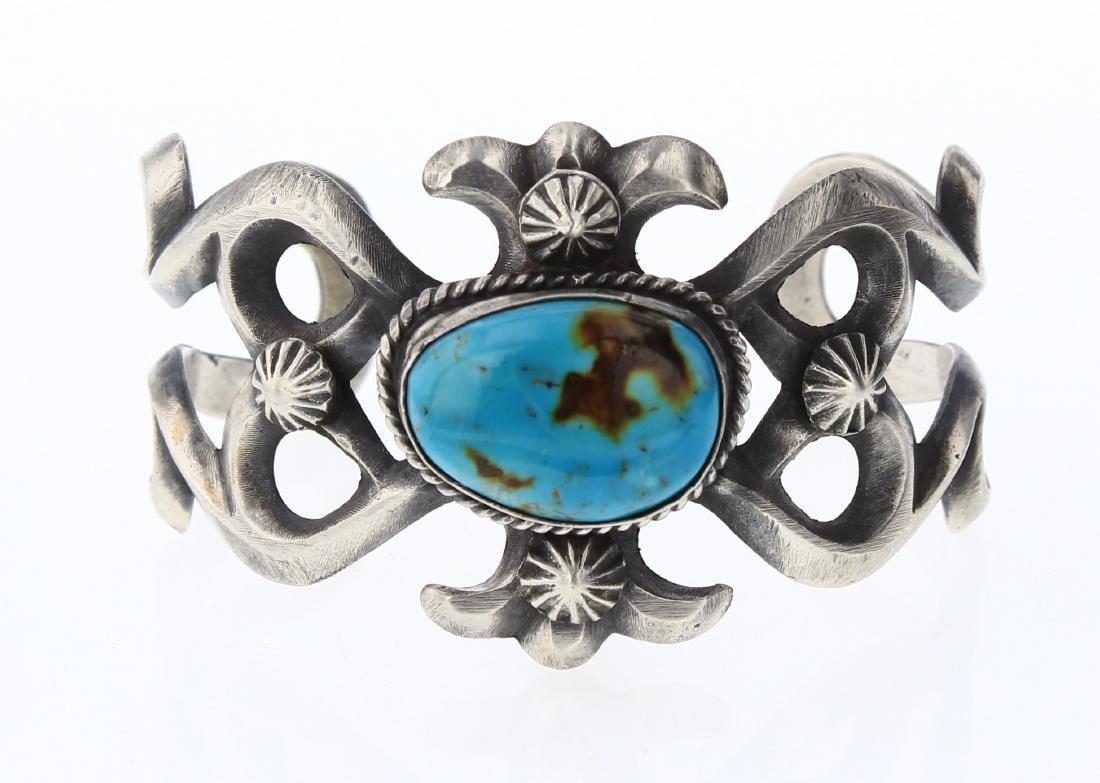 Chimney Butte Vintage Turquoise Sand Cast Cuff Bracelet
