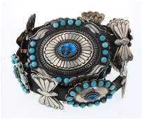 Verna Black goat Turquoise Large Contemporary Concho