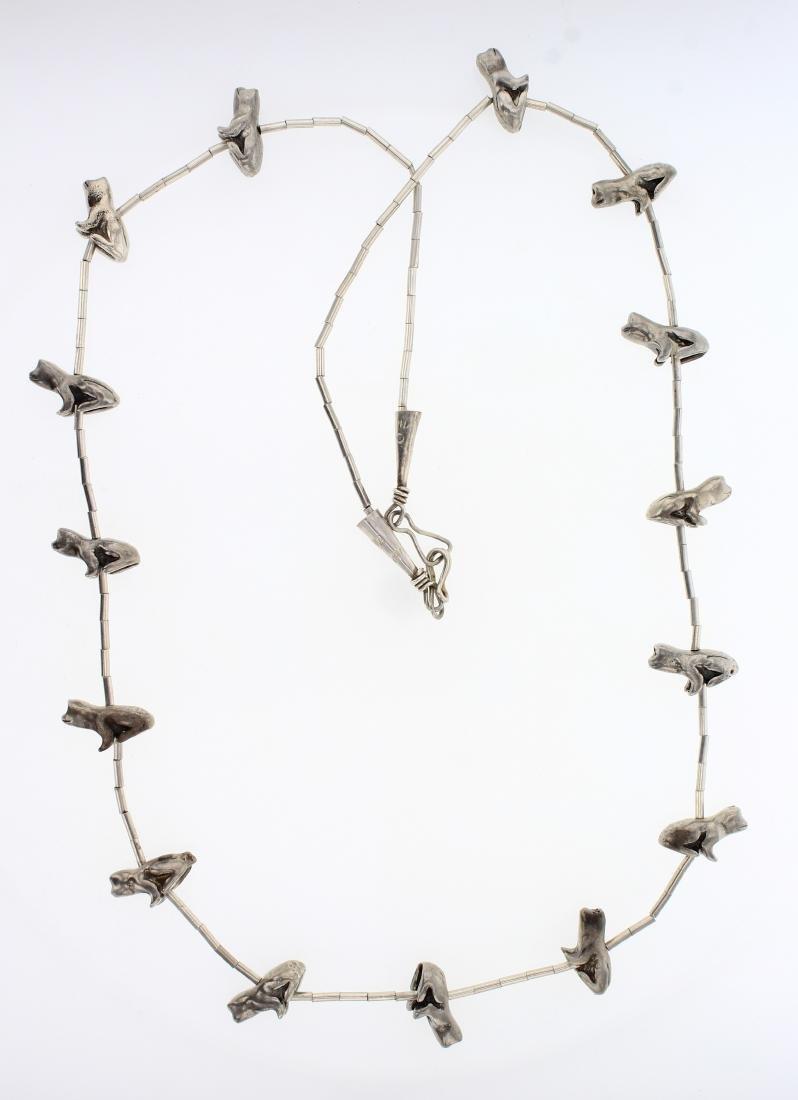Vintage Silver Frog Fetish Barrel Necklace