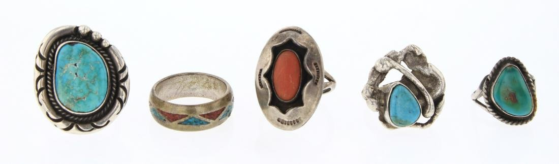 Old Pawn & Vintage Turquoise & Coral Rings Lot of Five