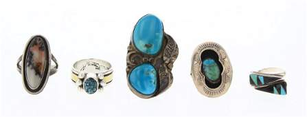 Old Pawn & Vintage Turquoise Rings Lot of Five