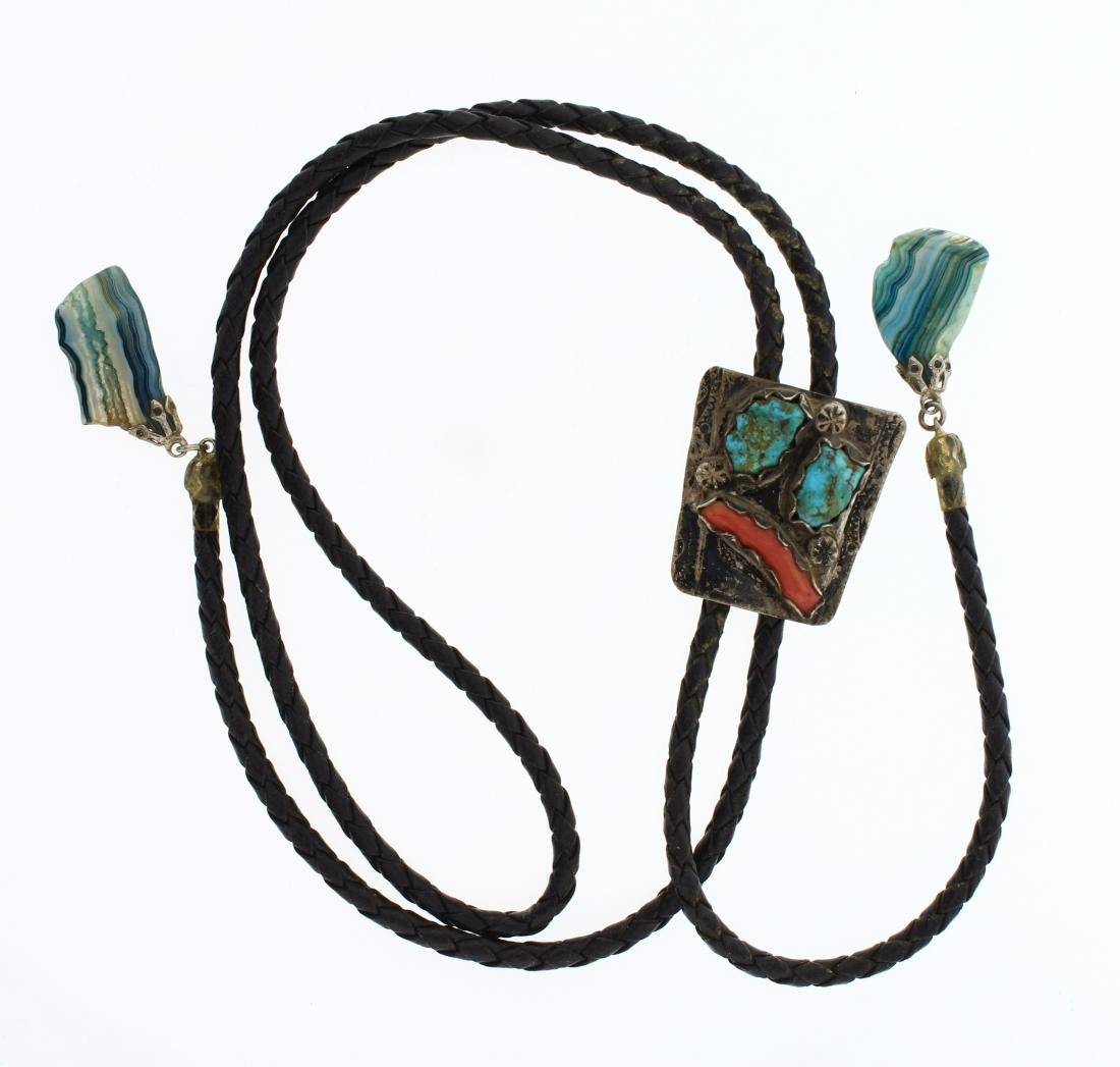 Old Pawn Turquoise & Coral Freeform Bolo Tie