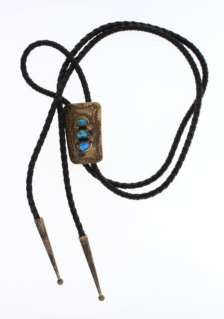 Old Pawn Turquoise Heavy Stamp Bolo Tie