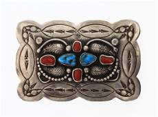 Old Pawn Turquoise  Coral Leaf  Arrow Head Belt