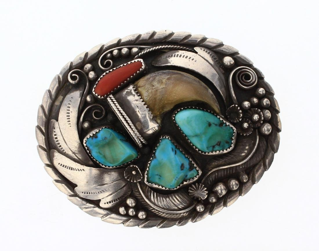 Old Pawn Bear Claw Turquoise & Coral Garden Motif Belt
