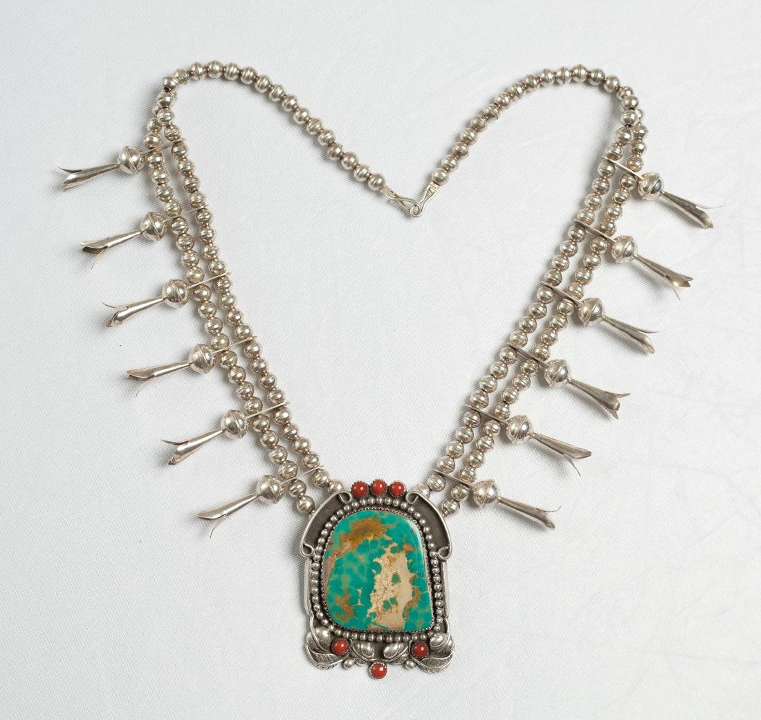 Old Pawn Turquoise & Coral Squash Blossom Necklace