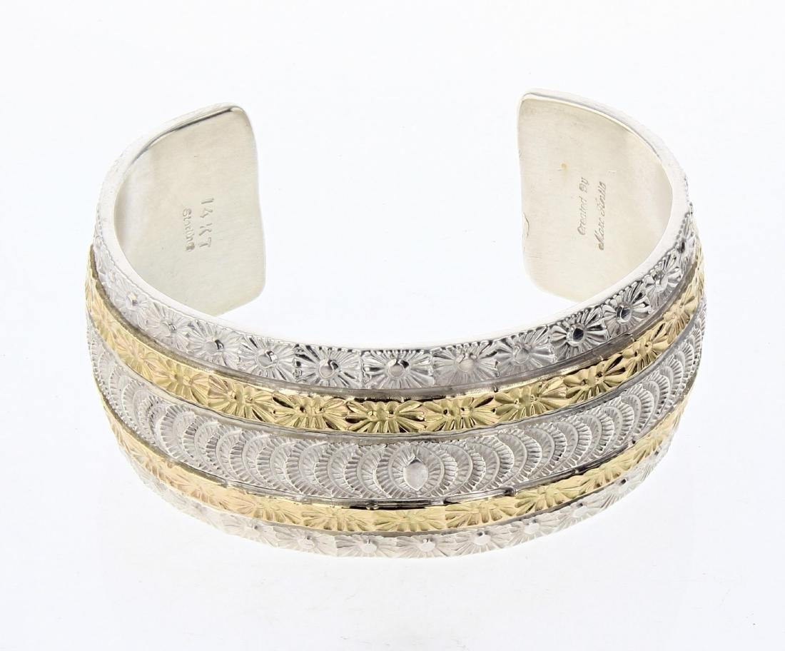 Marc Antia 14K Gold Over Sterling Heavy Stamp Cuff