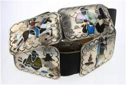 Old Pawn Story Teller Multi Color Inlay Concho Belt
