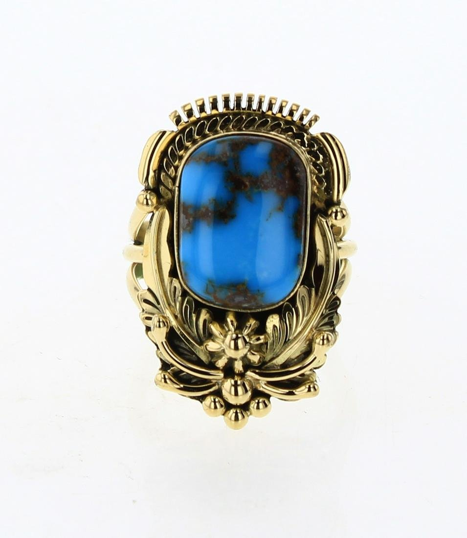 Mark Yazzie Solid 18K Gold Ancient Egyptian Turquoise