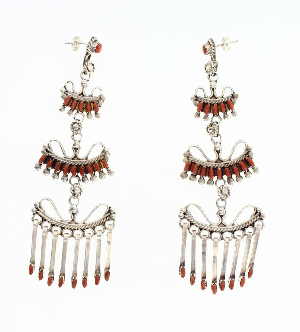 Vintage Coral Zuni Needlepoint Coral Earrings