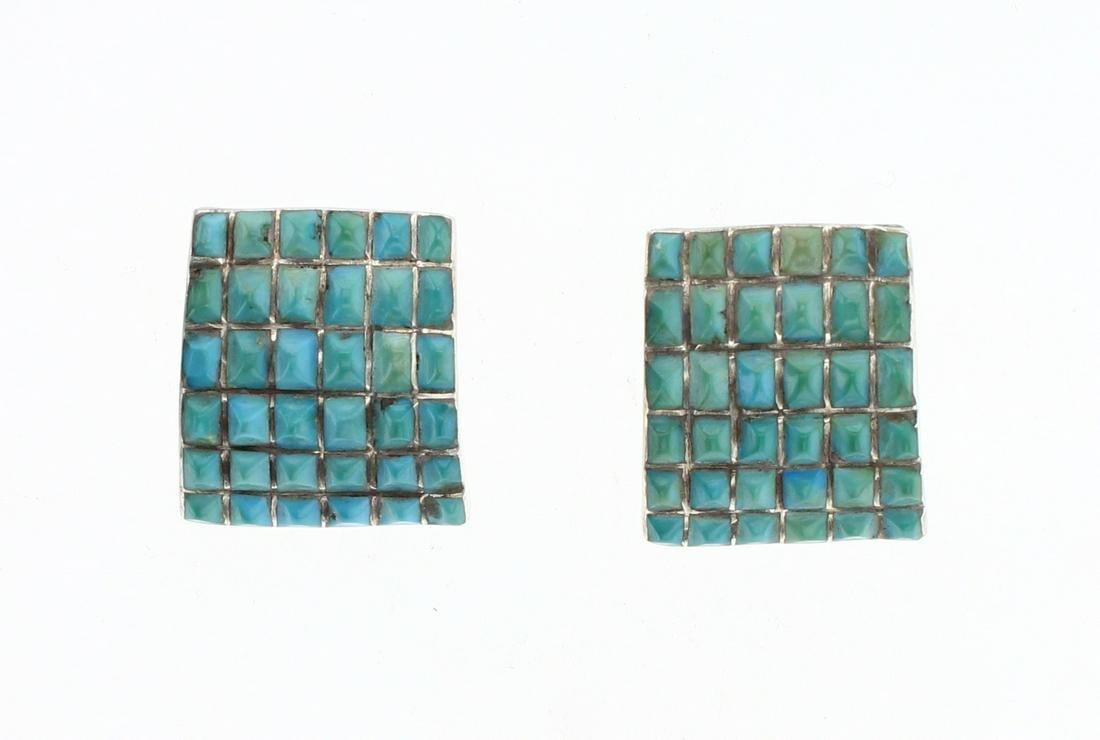 Vintage Sleeping Beauty Turquoise Inlay Post Earrings