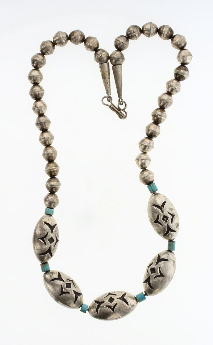 Vintage Turquoise Barrel Beads Necklace